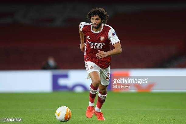 Mohamed Elneny of Arsenal in action during the UEFA Europa League Group B stage match between Arsenal FC and Dundalk FC at Emirates Stadium on...