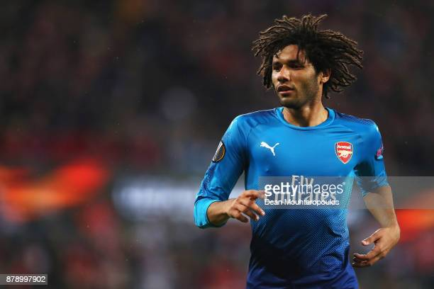 Mohamed Elneny of Arsenal in action during the UEFA Europa League group H match between 1 FC Koeln and Arsenal FC at RheinEnergieStadion on November...