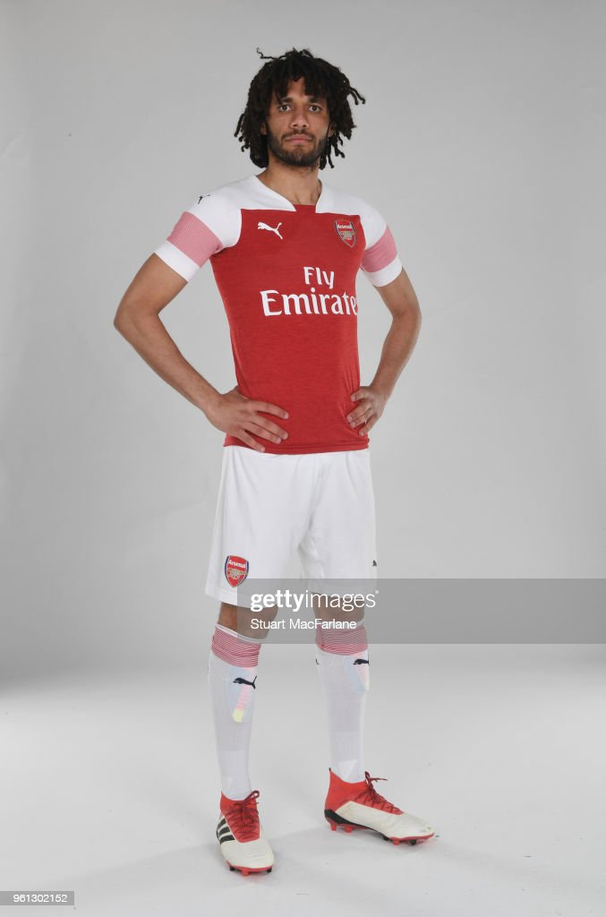 Mohamed Elneny of Arsenal in the new home kit for season 2018-19 on March 16, 2018 in St Albans, England.