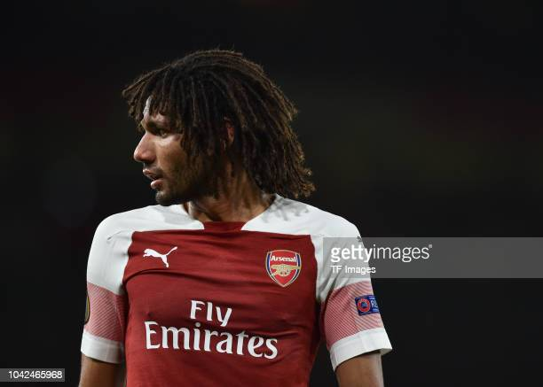 Mohamed Elneny of Arsenal looks on during the UEFA Europa League Group E match between Arsenal and Vorskla Poltava at Emirates Stadium on September...
