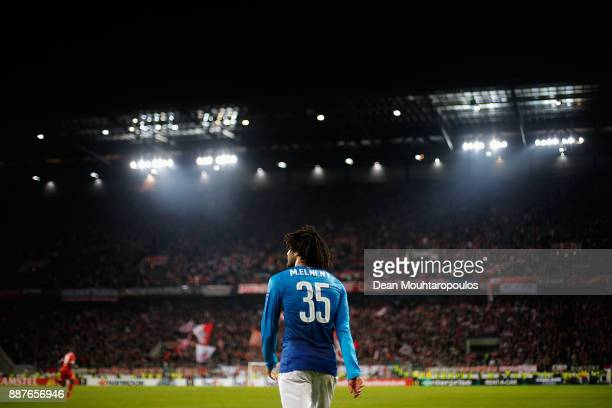 Mohamed Elneny of Arsenal looks on during the UEFA Europa League group H match between 1 FC Koeln and Arsenal FC at RheinEnergieStadion on November...