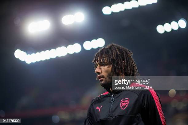 Mohamed Elneny of Arsenal looks on prior to the UEFA Europa League quarter final leg two match between CSKA Moskva and Arsenal FC at CSKA Arena on...