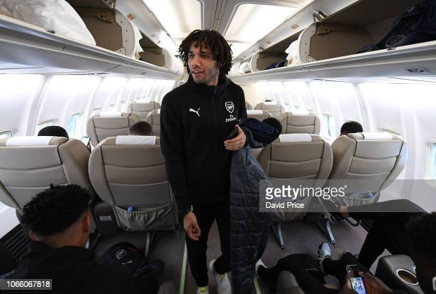 Mohamed Elneny of Arsenal on the plane on the way to Kiev at Luton Airport on November 28 2018 in Luton England