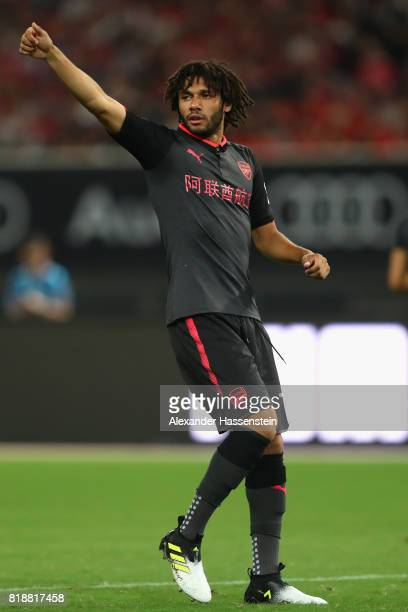 Mohamed Elneny of Arsenal reacts during the Audi Football Summit 2017 match between Bayern Muenchen and Arsenal FC at Shanghai Stadium during the...
