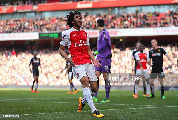 Mohamed Elneny of Arsenal reacts during the Emirates FA Cup sixth round match between Arsenal and Watford at Emirates Stadium on March 13 2016 in...