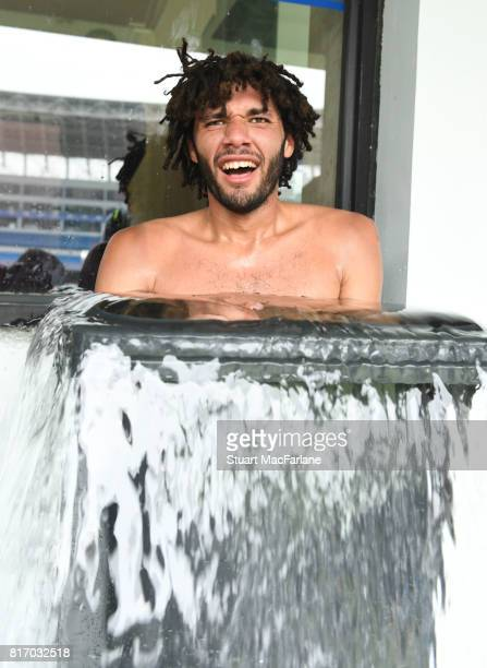 Mohamed Elneny of Arsenal takes an ice bath after a training session in Shanghai on July 18 2017 in China