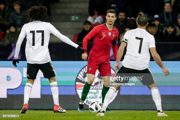 Mohamed Elneny of Egypt Cristiano Ronaldo of Portugal Ahmed Fathi of Egypt during the International Friendly match between Egypt v Portugal at the...