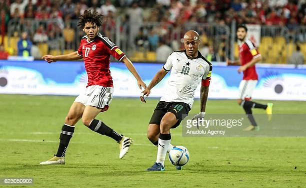Mohamed Elneny of Egypt in action against Andre Ayew of Ghana during the 2018 World Cup Africa qualifying match between Egypt and Ghana at the Borg...