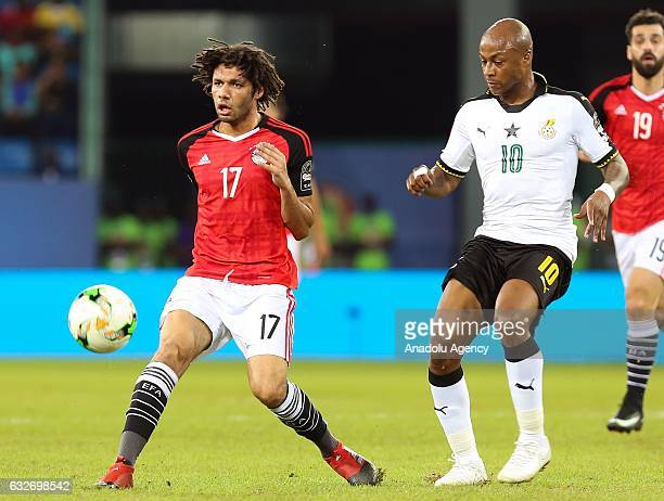 Mohamed Elneny of Egypt in action against Andre Ayew of Ghana during the African Cup of Nations 2017 Group D football match between Ghana and Egypt...