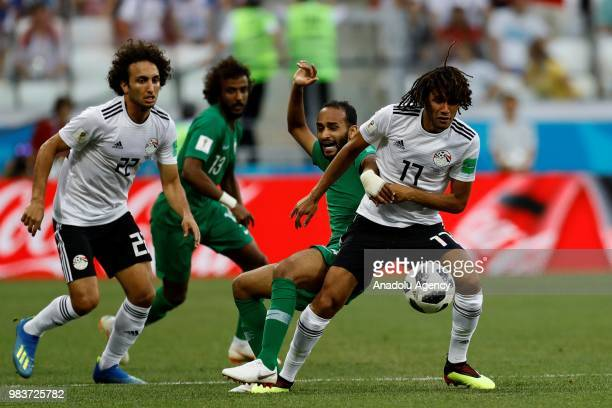 Mohamed Elneny of Egypt in action during the 2018 FIFA World Cup Russia Group A match between Saudi Arabia and Egypt at the Volgograd Arenain...