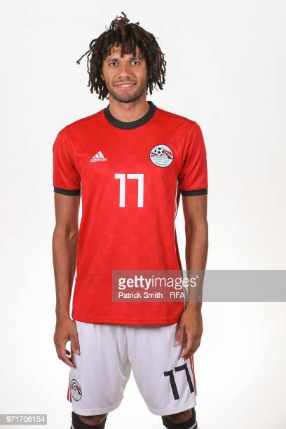 Mohamed Elneny of Egypt poses for a portrait during the official FIFA World Cup 2018 portrait session at The Local Hotel on June 11 2018 in Gronzy...