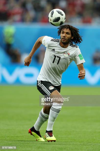 Mohamed Elneny of Egypt runs with the ball during the 2018 FIFA World Cup Russia group A match between Russia and Egypt at Saint Petersburg Stadium...