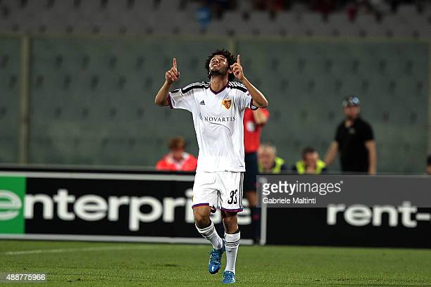 Mohamed Elneny of FC Basel 1893 celebrates after scoring a goal during the UEFA Europa League match between Fiorentina and Basel on September 17 2015...