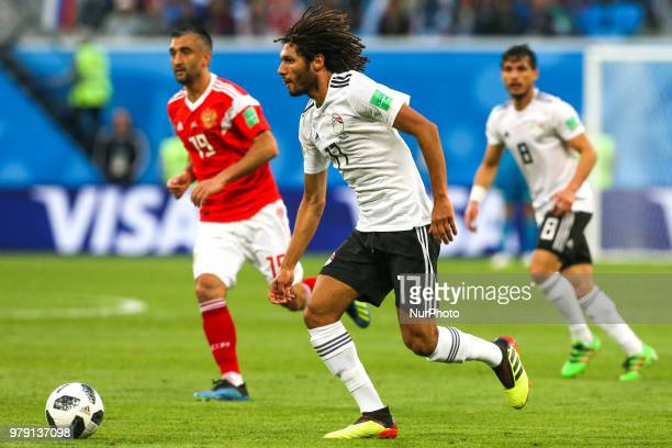 Mohamed Elneny of the Egypt national football team vie for the ball during the 2018 FIFA World Cup match first stage Group A between Russia and Egypt...