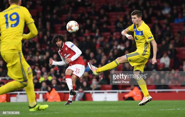 Mohamed Elneny scores Arsenal's 6th goal during the UEFA Europa League group H match between Arsenal FC and BATE Borisov at Emirates Stadium on...