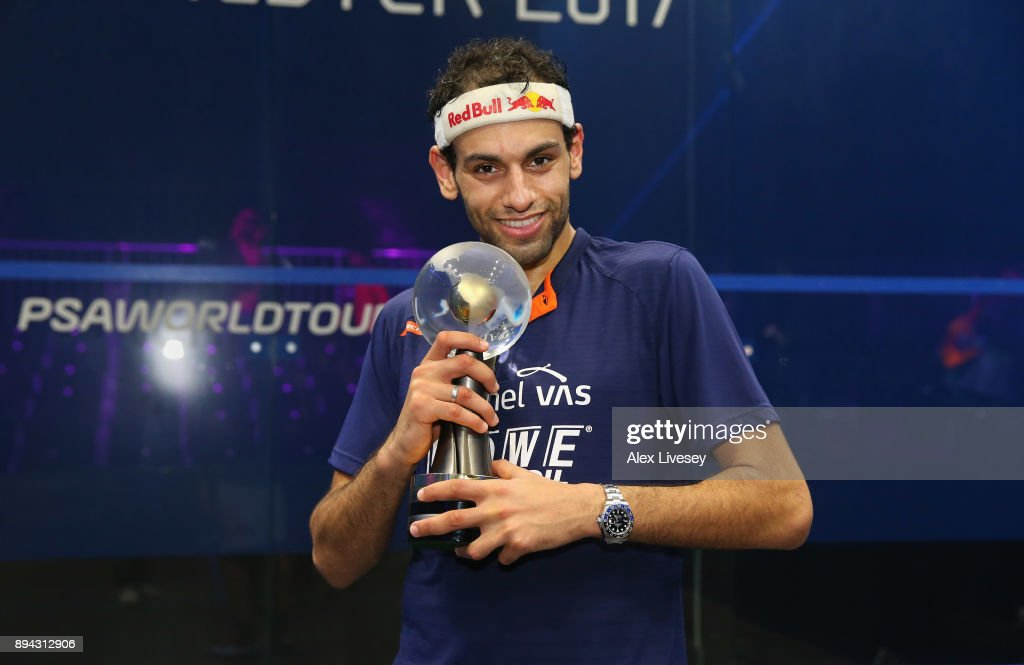 Mohamed ElShorbagy of Egypt holds the AJ Bell PSA World Squash Championships trophy after victory over his brother Marwan ElShorbagy of Egypt in the Men's Final of the AJ Bell PSA World Squash Championships at the Manchester Central Convention Complex on December 17, 2017 in Manchester, England.
