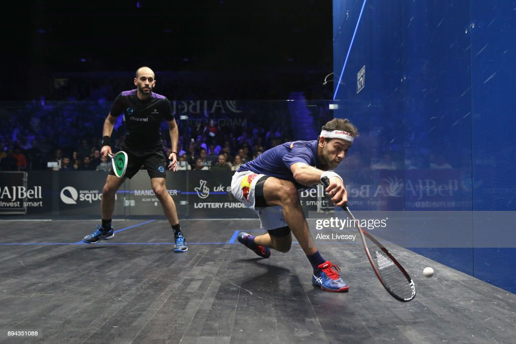 Mohamed ElShorbagy of Egypt plays a backhand shot against Marwan ElShorbagy of Egypt during the Men's Final of the AJ Bell PSA World Squash Championships at the Manchester Central Convention Complex on December 17, 2017 in Manchester, England.