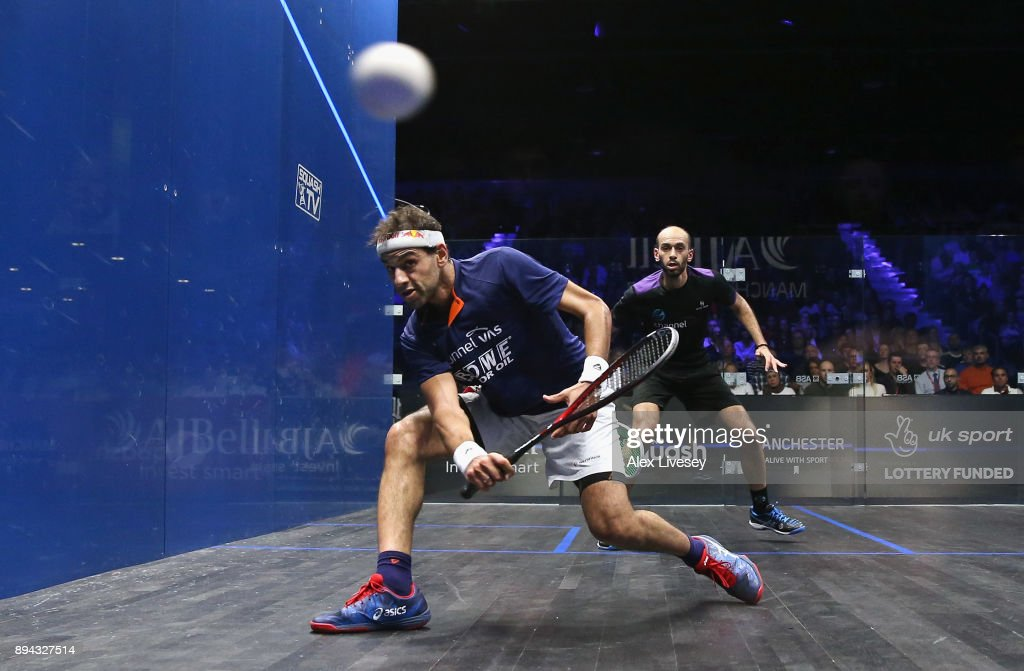 Mohamed ElShorbagy of Egypt plays a forehand shot against Marwan ElShorbagy of Egypt during the Men's Final of the AJ Bell PSA World Squash Championships at the Manchester Central Convention Complex on December 17, 2017 in Manchester, England.