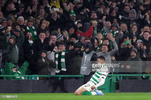 Mohamed Elyounoussi of Celtic celebrates after scoring his team's second goal during the UEFA Europa League group E match between Celtic FC and CFR...