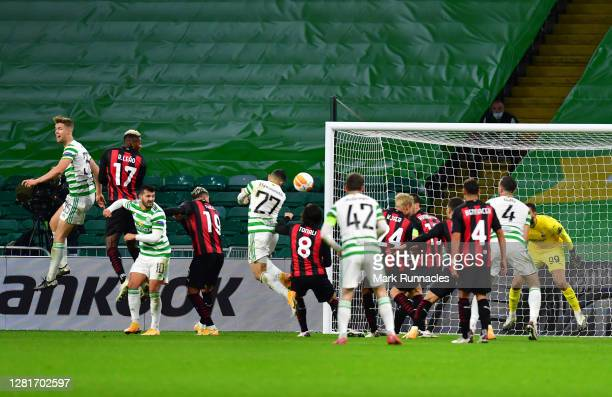 Mohamed Elyounoussi of Celtic scores his sides first goal during the UEFA Europa League Group H stage match between Celtic and AC Milan at Celtic...