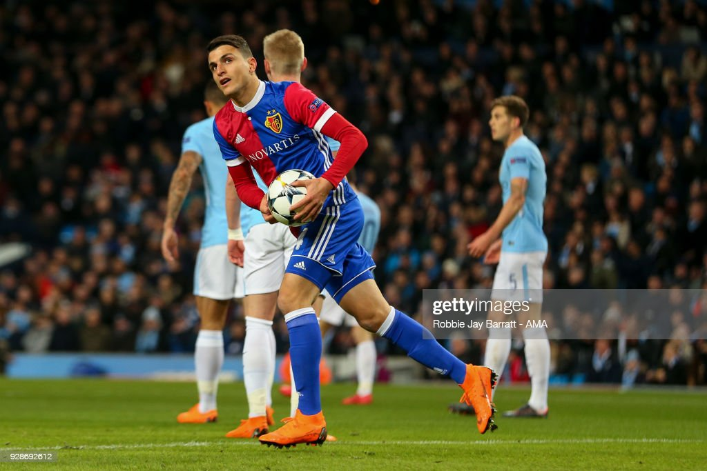 Mohamed Elyounoussi of FC Basel celebrates after scoring a goal to make it 1-1 during the UEFA Champions League Round of 16 Second Leg match between Manchester City and FC Basel at Etihad Stadium on March 7, 2018 in Manchester, United Kingdom.