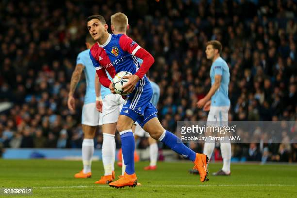 Mohamed Elyounoussi of FC Basel celebrates after scoring a goal to make it 11 during the UEFA Champions League Round of 16 Second Leg match between...