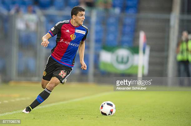 Mohamed Elyounoussi of FC Basel during the friendly match between FC Basel and VfL Wolfsburg at St JakobPark on July 19 2016 in Basel Switzerland