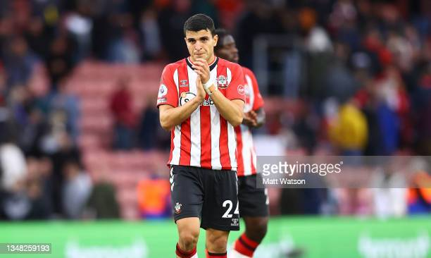 Mohamed Elyounoussi of Southampton during the Premier League match between Southampton and Burnley at St Mary's Stadium on October 23, 2021 in...