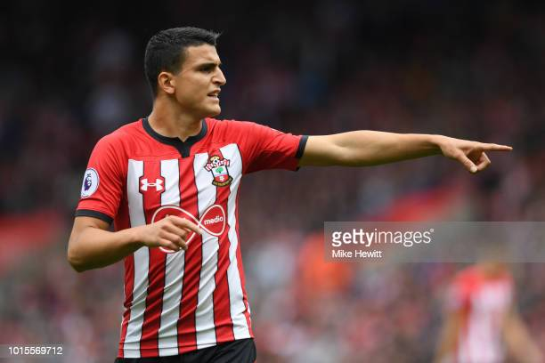 Mohamed Elyounoussi of Southampton points during the Premier League match between Southampton FC and Burnley FC at St Mary's Stadium on August 12...