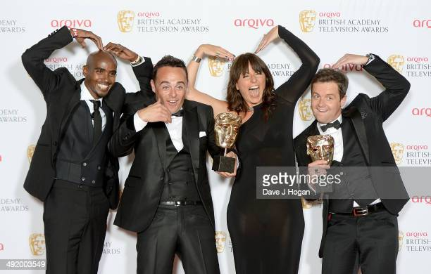 Mohamed Farah Anthony McPartlin Davina McCall and Declan Donnelly attend the Arqiva British Academy Television Awards at Theatre Royal on May 18 2014...