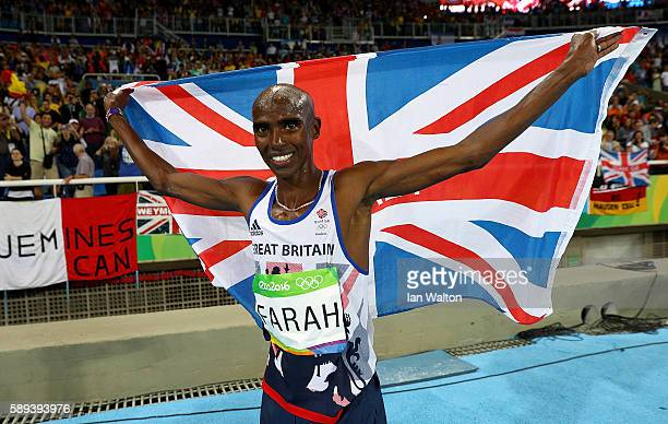 Mohamed Farah of Great Britain celebrates after winning the Men's 10,000m on Day 8 of the Rio 2016 Olympic Games at the Olympic Stadium on August 13,...