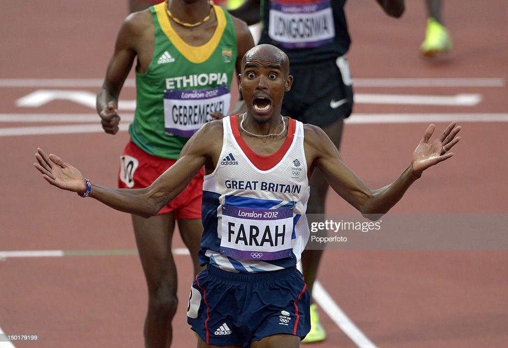 Mohamed Farah of Great Britain celebrates victory in the Men's 5000m Final on Day 15 of the London 2012 Olympic Games at Olympic Stadium on August 11, 2012 in London, England.