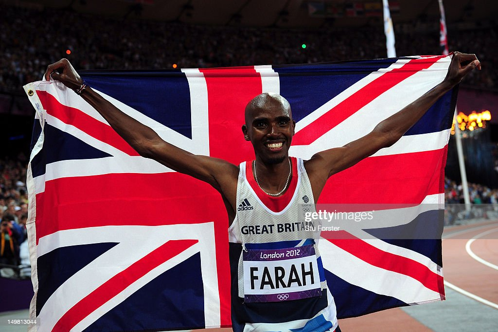 Mohamed Farah of Great Britain celebrates winning gold in Men's 10,000m Final on Day 8 of the London 2012 Olympic Games at Olympic Stadium on August 4, 2012 in London, England.