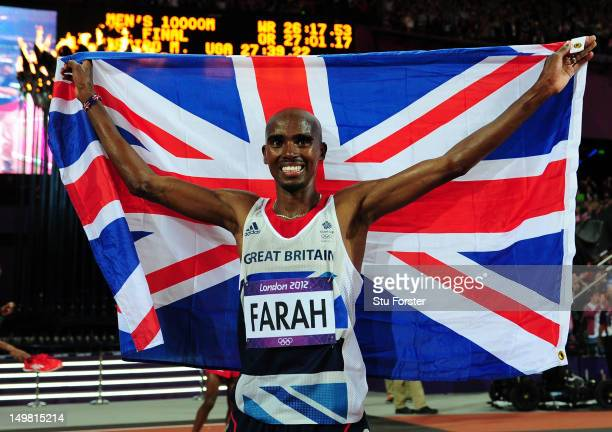 04 Mohamed Farah of Great Britain celebrates winning gold in Men's 10000m Final on Day 8 of the London 2012 Olympic Games at Olympic Stadium on...