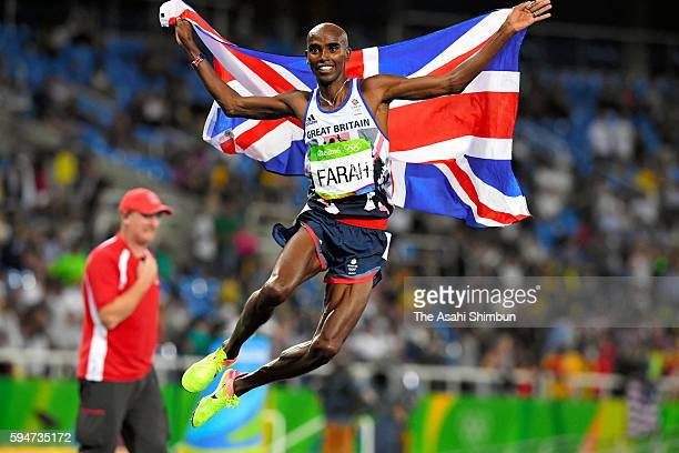 Mohamed Farah of Great Britain celebrates winning the gold medal in the Men's 5000m final on Day 15 of the Rio 2016 Olympic Games at the Olympic...