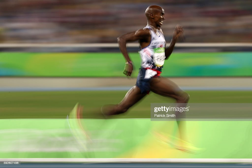 Mohamed Farah of Great Britain competes during the Men's 5000 meter Final on Day 15 of the Rio 2016 Olympic Games at the Olympic Stadium on August 20, 2016 in Rio de Janeiro, Brazil.