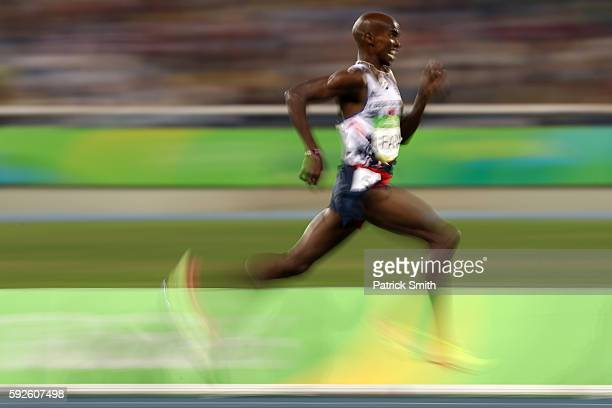 Mohamed Farah of Great Britain competes during the Men's 5000 meter Final on Day 15 of the Rio 2016 Olympic Games at the Olympic Stadium on August 20...