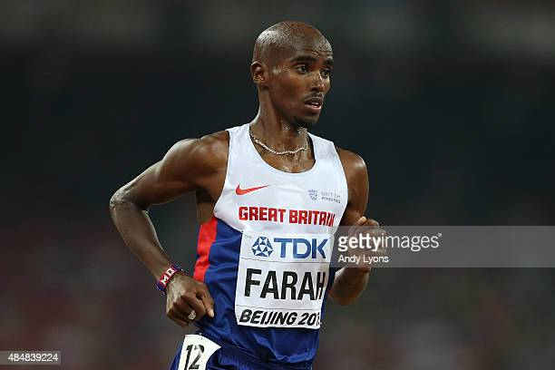 Mohamed Farah of Great Britain competes in the Men's 10000 metres final during day one of the 15th IAAF World Athletics Championships Beijing 2015 at...