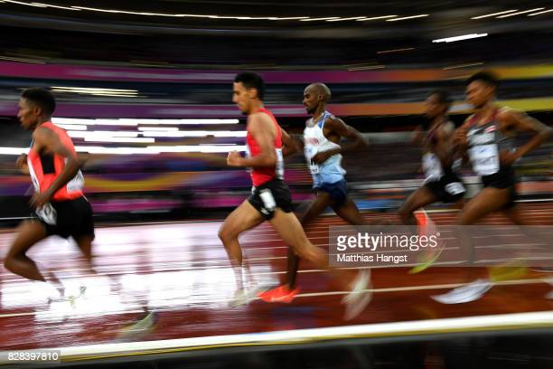 Mohamed Farah of Great Britain competes in the Men's 5000 Metres heats during day six of the 16th IAAF World Athletics Championships London 2017 at...