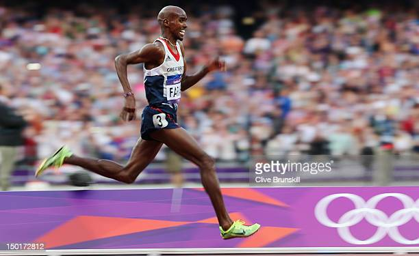 Mohamed Farah of Great Britain competes in the Men's 5000m Final on Day 15 of the London 2012 Olympic Games at Olympic Stadium on August 11, 2012 in...
