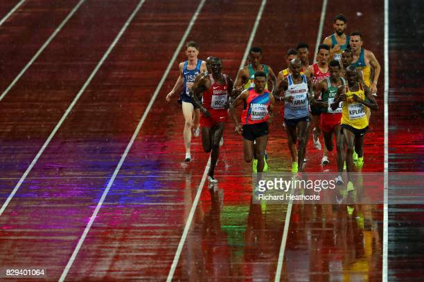 Mohamed Farah of Great Britain in the middle of the pack in heat one of the Men's 5000 Metres heats during day six of the 16th IAAF World Athletics...