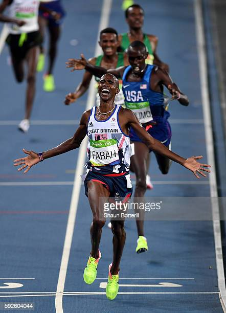 Mohamed Farah of Great Britain reacts after winning gold in the Men's 5000 meter on Day 15 of the Rio 2016 Olympic Games at the Olympic Stadium on...