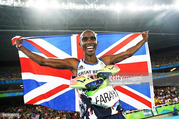 Mohamed Farah of Great Britain reacts after winning gold in the Men's 5000 meter Final on Day 15 of the Rio 2016 Olympic Games at the Olympic Stadium...