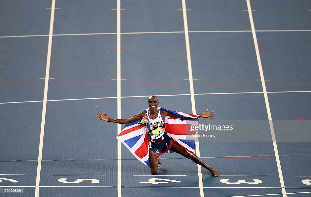 Mohamed Farah of Great Britain reacts after winning gold in the Men's 5000 meter Final on Day 15 of the Rio 2016 Olympic Games at the Olympic Stadium on August 20, 2016 in Rio de Janeiro, Brazil.