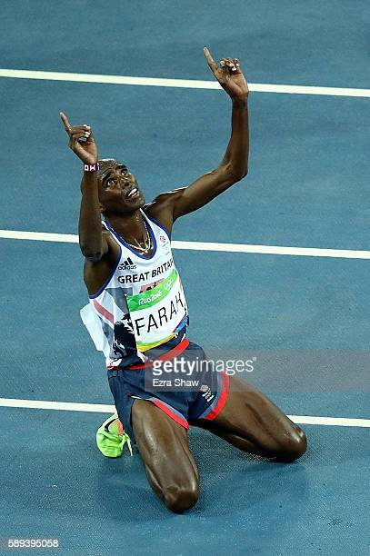 Mohamed Farah of Great Britain reacts after winning the Men's 10000m on Day 8 of the Rio 2016 Olympic Games at the Olympic Stadium on August 13 2016...