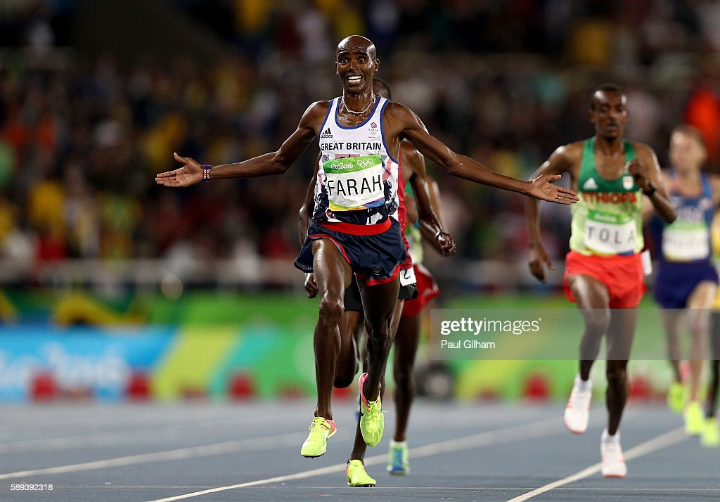 Mohamed Farah of Great Britain wins the Men's 10,000m on Day 8 of the Rio 2016 Olympic Games at the Olympic Stadium on August 13, 2016 in Rio de Janeiro, Brazil.