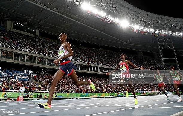 Mohamed Farah of Great Britain wins the Men's 10000m on Day 8 of the Rio 2016 Olympic Games at the Olympic Stadium on August 13 2016 in Rio de...