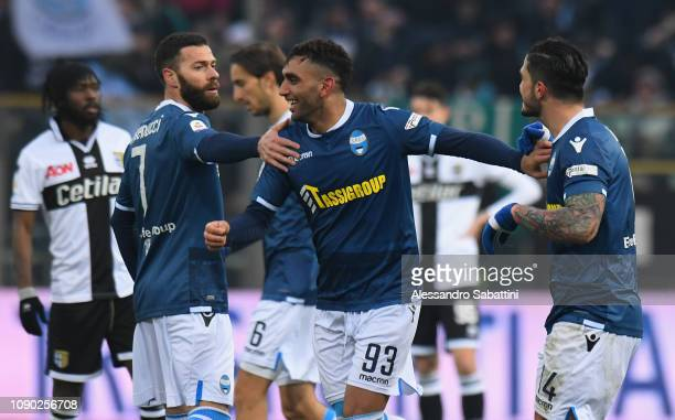 Mohamed Fares of Spal celebrates after scoring his team third goal with team mates during the Serie A match between Parma Calcio and SPAL at Stadio...