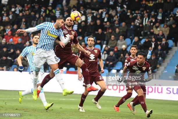 Mohamed Fares of SPAL heads the ball towards the goal during the Serie A match between SPAL and Torino FC at Stadio Paolo Mazza on February 03 2019...