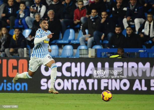 Mohamed Fares of SPAL in action during the Serie A match between SPAL and Cagliari at Stadio Paolo Mazza on November 11 2018 in Ferrara Italy